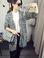 Women's Color Block Black Cardigan,Simple Long Sleeve