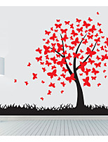 Butterfly Tree with Grass Wall Stickers Plane Wall Stickers,PVC 120X166cm