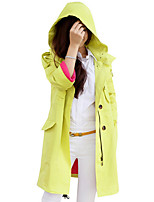 Women's Solid Yellow Trench Coat,Simple / Active Long Sleeve Cotton