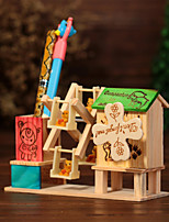 Windmill Pen Container Music Box Wood Green / Blue / Pink