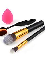 maquillaje cepillo de dientes + cepillo de base + cepillo de sombra de ojos + pequeña bocanada fundación