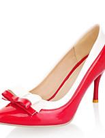 Chaussures Femme-Bureau & Travail / Habillé-Noir / Rouge-Talon Aiguille-Talons / Bout Pointu-Talons-Cuir Verni / Similicuir