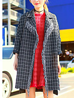 Women's Plaid Black Coat,Simple Long Sleeve Polyester
