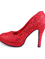Women's Wedding Shoes Round Toe Heels Wedding / Office & Career / Party & Evening Red