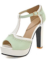 Chaussures Femme-Mariage / Décontracté / Soirée & Evénement-Vert / Rose / Amande-Gros Talon-Talons / Bout Ouvert-Sandales-Cuir Verni
