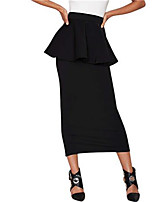 Women's Solid Black Skirts,Street chic Midi