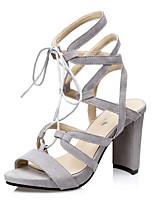 Women's Shoes  Chunky Heel Heels / Peep Toe / Open Toe Sandals Casual Black / Gray / Khaki