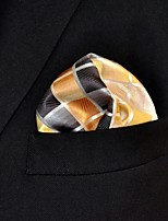 Men's Pocket Square Yellow Checked  100% Silk Wedding Business