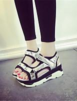 Chaussures Femme-Extérieure / Décontracté-Noir / Blanc / Argent-Plateforme-Bout Ouvert-Sandales-Synthétique