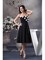 Cocktail Party Dress-Ivory / Black A-line Strapless Knee-length Chiffon