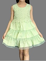 Vestido Chica de-Verano-Algodón-Verde / Rosa / Blanco / Amarillo