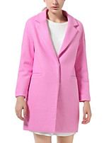 Women's Solid Blue / Pink Coat,Simple Long Sleeve Polyester