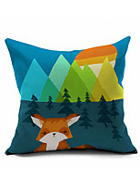 Cartoon Animal Illustration Printed Cotton/Linen Pillow Cover , Nature Modern/Contemporary