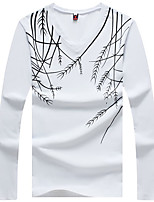 Men's Print Casual T-Shirt,Cotton / Spandex Long Sleeve-Black / White / Gray