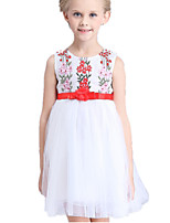 Girl's White Dress Cotton / Polyester Summer
