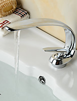 Basin Faucets Contemporary Style Single Handle One Hole Hot and Cold Chrome