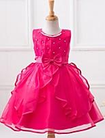A-line Knee-length Flower Girl Dress-Satin / Polyester Sleeveless