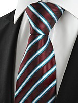 KissTies Men's New Blue Striped Plum Microfiber Tie Necktie For Wedding Party Holiday With Gift Box