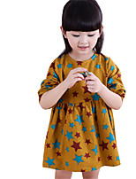 Girl's Black / Yellow Dress,Cartoon Cotton Spring / Fall