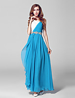 Formal Evening Dress-Ocean Blue Ball Gown Scoop Ankle-length Chiffon