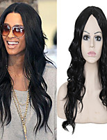 Long Length Wave Hair European Weave Black Color Hair Synthetic Wig