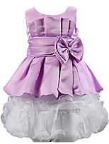 Girl's Blue / Purple Dress,Bow Cotton Summer / Spring