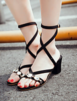 Women's Shoes Chunky Heel Open Toe Sandals Party & Evening / Dress / Casual Black / Brown / Yellow / Purple