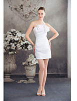 Cocktail Party Dress-White Sheath/Column Spaghetti Straps Short/Mini Satin