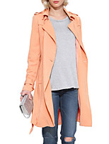 Women's Solid Orange Trench Coat,Simple Long Sleeve Polyester