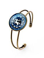 Lureme® Time Gem The Zodiac Series Sagittarius Disc Cuff Bangle Bracelet for Women and Girl
