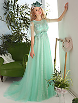 Formal Evening Dress-Sage Sheath/Column Jewel Court Train Lace / Tulle