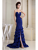 Formal Evening Dress-Royal Blue Trumpet/Mermaid Sweetheart Court Train Chiffon