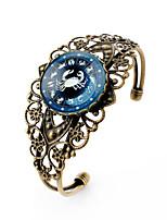 Lureme® Vintage Jewelry Time Gem The Zodiac Series Cancer Antique Bronze Hollow Flower Open Bangle Bracelet for Women