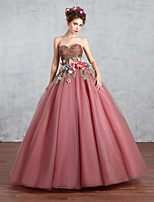 Princess Wedding Dress-Pearl Pink Floor-length Sweetheart Lace / Tulle