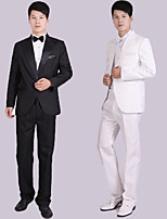Suits Tailored Fit Notch Single Breasted One-button Polyester Solid 4 Pieces Black / White