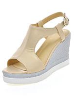 Chaussures Femme-Habillé-Bleu / Rose / Blanc / Beige-Talon Compensé-Compensées / Bout Ouvert-Sandales-Similicuir