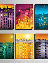 E-HOME® Stretched Canvas Art The Moonlight Of The Building Series Decoration Painting MINI SIZE One Pcs