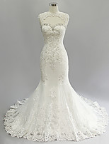Trumpet/Mermaid Wedding Dress-Ivory Court Train Jewel Lace / Satin / Tulle