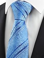 Blue Paisley Floral Striped JACQUARD Men's Tie Necktie Unique Wedding Gift KT0018