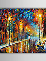 Hand-Painted Abstract / Fantasy / Abstract Landscape Modern / European Style Oil Painting , Canvas One Panel