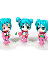 Lovely Hatsune Miku 3 PCS Pink/Ink Blue Model Doll Toys Sets Anime(PP Bag Packaging)