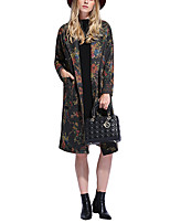 Women's Print Blue Coat,Simple Long Sleeve Polyester