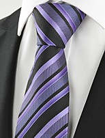 KissTies Men's Striped Lavender Purple Black Microfiber Tie Necktie For Wedding Holiday With Gift Box