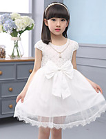 Girl's Pink / White Dress Rayon Summer