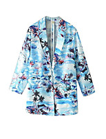 Women's Print Blue Coat,Simple Long Sleeve Cotton