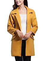 Women's Blue / Yellow Coat,Simple Long Sleeve Polyester