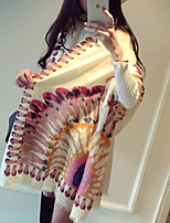 Indian Peacock Feather White Cotton Twill Scarves Show Fall And Winter Scarves