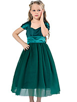 Girl's Green / Purple / White Dress Cotton / Polyester Summer