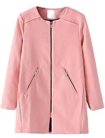 Women's Solid Pink / Red / Beige / Black Coat,Simple Long Sleeve Wool