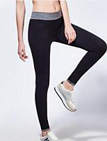 Pantalon de yoga Bas / Collants Respirable / Séchage rapide / Compression Taille moyenne Extensible Vêtements de sport Gris / Noir Femme